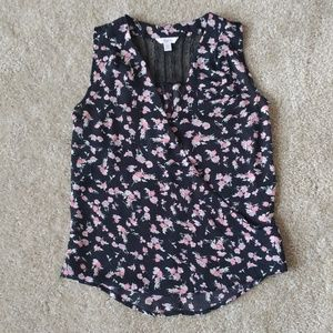 Candie's Floral Wrap Front Sleeveless Blouse